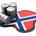 3d illustration of oil barrels and Norway flag