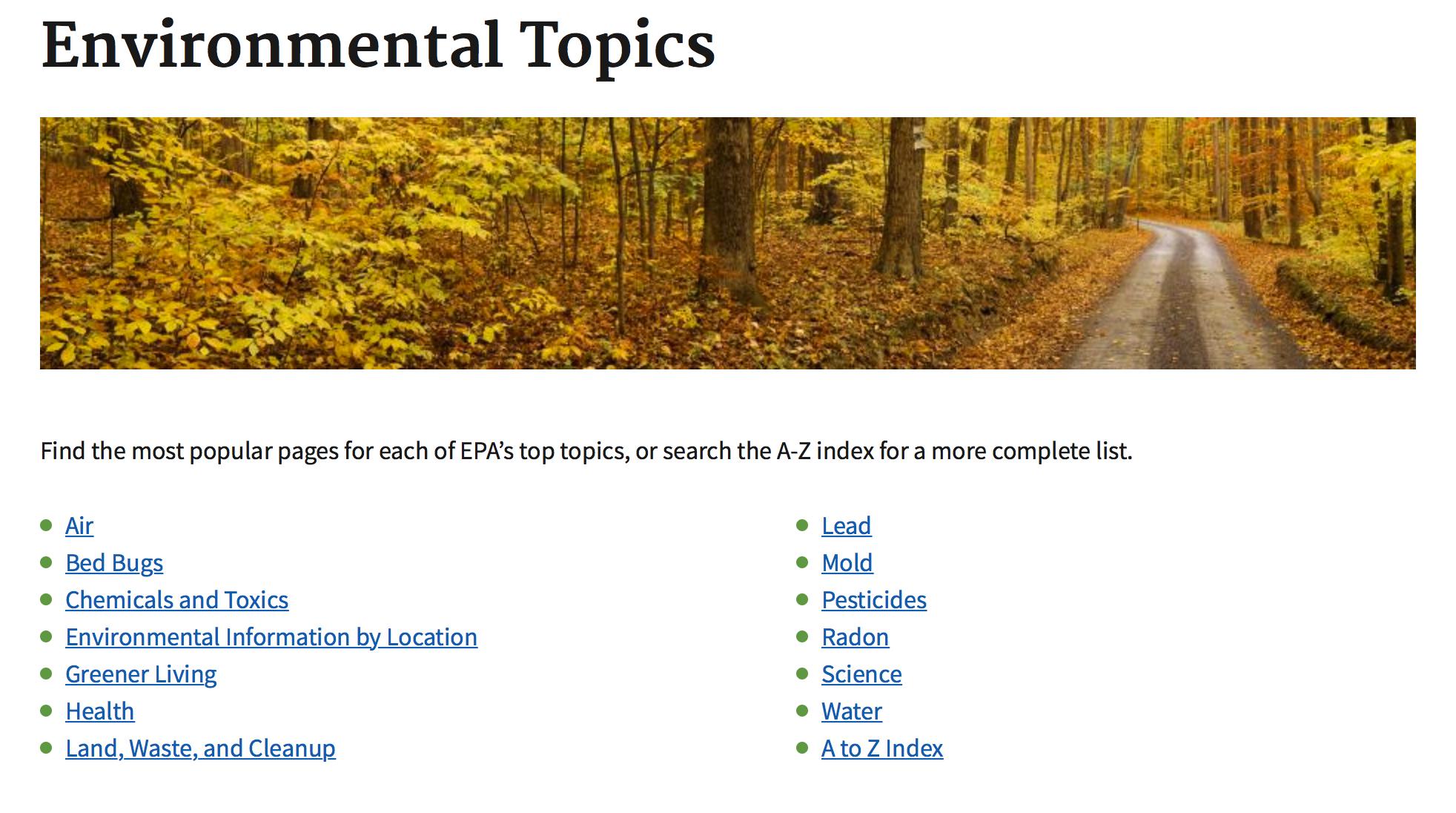 Det amerikanske miløverndirektoratets hjemmeside har ikke lenger en egen temaside for klimaendringene.