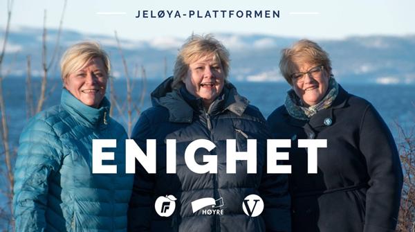 De tre partilederne, slik der er presentert av Høyre i dag.