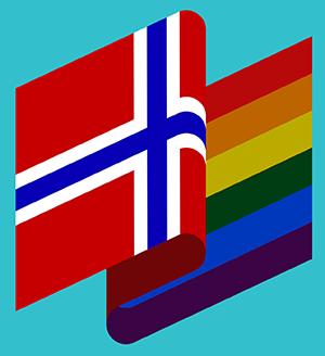 Norsk flagg og regnbue-flagg.
