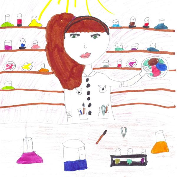 Barnetegning av kvinnelig forsker